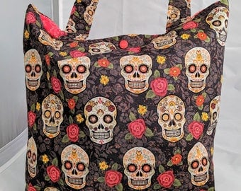 Day of the Dead Tote Bag, Sugar Skull Tote, Skulls
