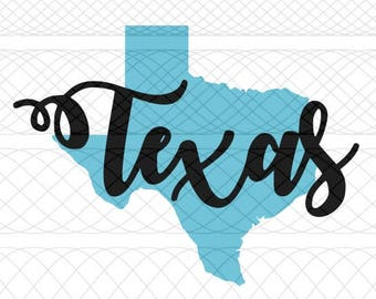 Texas State Outline and Script Name SVG, PNG, and STUDIO3 Cut Files for Silhouette Cameo/Portrait and Cricut Explore DIY Craft Cutters