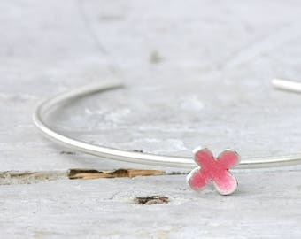 Bangle flower made of 925 Silver cuff open below, floral, flowers, silver jewelry