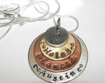4 layer, mommy necklace, mothers necklace, mothers jewelry, mommy jewelry, personalized mom necklace, gift for mom, kids name necklace
