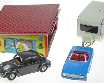 Kovap Tin Toy VW & Mercedes Cars with Garage and Caravan Boxed New Condition