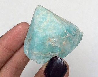 Amazonite Microcline Blue Green Raw Unpolished Crystal on Matrix Miniature Cluster (Lake George, CO)