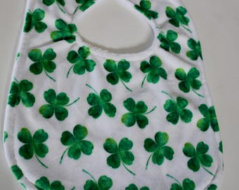 Specialty Print Four Leaf Clover Minky and Chenille Bib - Green, white - St. Patrick's Day - Pearl Snap Closure, Baby Gift, Feeding, Nursing