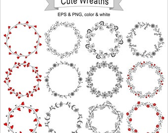 Designs of Wreath with Flowers or Hearts,Circle Frames,greeting card, digital card, clip art, printable, vector, round frame, png, eps