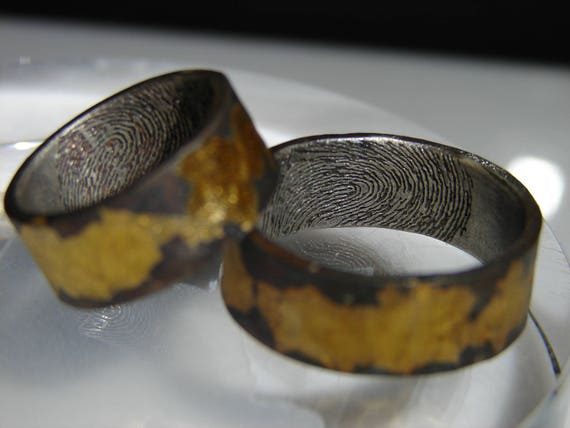 Fingerprint ring. Sterling silver with pure 24k yellow gold infused. Wedding ring, Commitment ring, or Memorial ring.