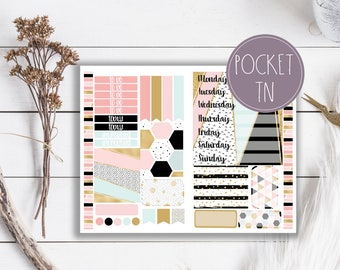 Pink Geo Glam Travelers Notebook Planner Stickers Pocket Size