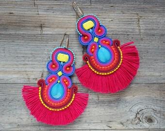 Thaiti - soutache earrings, orecchini soutache, boucles d'oreilles soutache,boho style, boho earrings