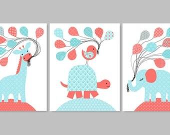 Aqua and Coral Nursery, Baby Girl Decor, Turtle Nursery, Giraffe Nursery, Elephant Nursery, Girl Art Prints, Baby Girl Prints, Canvas Decor
