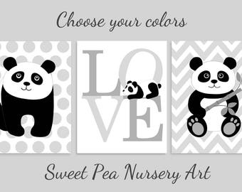 Panda Nursery Art, Panda Wall Decor, Panda Kids Decor, Gender Neutral Nursery Decor, Baby Boy, Baby Girl, Set of 3, Choose Your Colors
