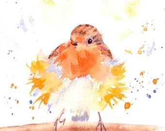 Original Bird Painting, Robin Watercolour Painting, Fluffy Bird, British Wildlife, Winter bird Art, Christmas gift, for birdwatcher, garden