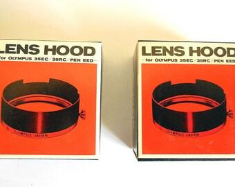 Lot(2) Olympus Round Metal Lens Hood Olympus 35 EC, 35 RC, Pen EED-- Boxed