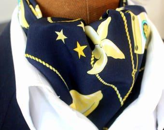 Tie scarf, Ascot tie, maritim navy-blue with handkerchief as a set