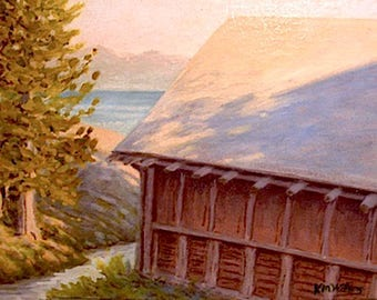 Lake Yellowstone 'Boathouse' -free shipping - cabin painting - impressionist - plein air - western decor - national park art - historic