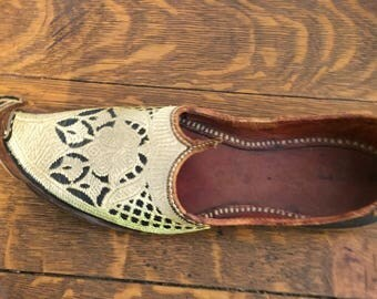 Vintage Leather Brocade Handmade Khussa Indian Persian Mens Shoes Unixsex Costume