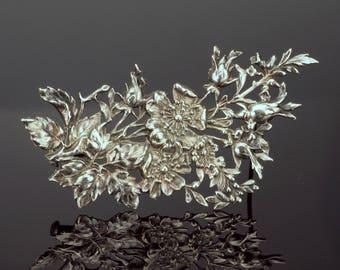 Silver Plate Flower Brooch, Repoussé Floral Bouquet Pin c1920s