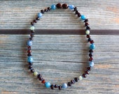 """11.5"""" Highly Sensitive Person Version 2 Baltic Amber Healing Gemstone Necklace Knotted on Silk, Teething Necklace, Natural Pain Relief"""