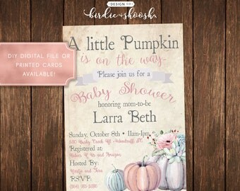 Pumpkin On the Way Baby Coral Mint Lavender Baby Shower Invitation