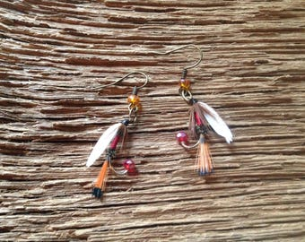 Royal Coachman fly fishing fly earrings: fly fishing earrings, Autumn earrings, fly fishing jewelry, fly fishing gift