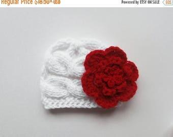 ON SALE 10% SALE Knit Baby Hat, Newborn Baby Beanie, Girls Beanie Hat , Newborn Baby Hats , Baby Hat Photo Prop , Knit Baby Hat