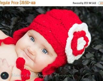 SALE 10% DISCOUNT Knit Baby Girls Hat Photo Prop , Newborn Hat Baby Hat Earflap  , Knit Baby Hat , Crochet Flower Hat ,Photo Prop