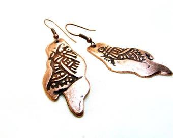 Boucles d'oreilles ethniques cuivre artisanal motif oiseau précolombien