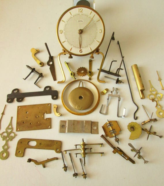 A Nice Lot of Assorted Vintage Solid Brass Clock Parts, Hardware and Clock Hands for your Clocks Projects - Jewelry Making - Steampunk Art