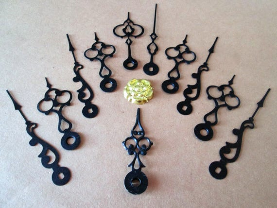 5 Pairs of Vintage Fancy Black Painted Steel Clock Hands for your Clock Projects, Jewelry Making, Steampunk Art and Etc.