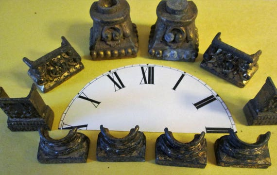1 Set of 4 and 3 Sets of 2 Antique Cast Metal Mantle Clock Feet for your Clock Projects - Steampunk Art - Metalwork