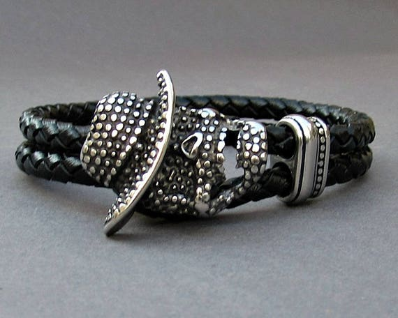 Freddy Krueger, Braided Leather Bracelet, Mens Stainless Steel Leather bracelet Cuff Gift For Men Customized On Your Wrist