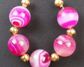 14mm/ Peachblow/ Agate/ Gemstone / Beads/ Destash Beads/ 14mm Focal Beads