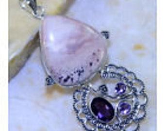 HUGE>>Ornate /Ocean Jasper/ and Amethyst/ Gemstone /925 Sterling Silver Pendant