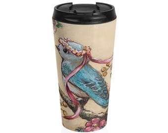 Vintage Floral Bluebird And Roses Stainless Steel Travel Mug