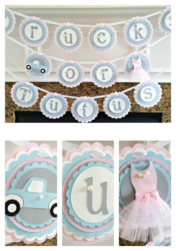 Baby Gender Reveal Party Decorations Trucks Or Tutus Banner Baby