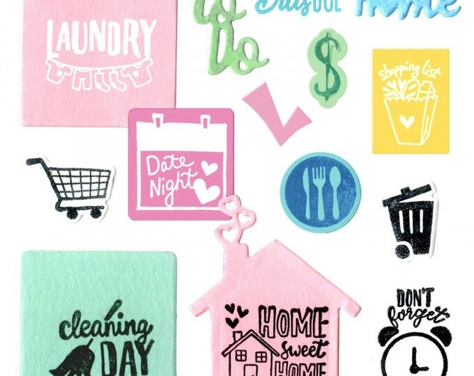 New! Sizzix Framelits Die Set 17PK w/Stamps - Household Planner by Katelyn Lizardi 662293