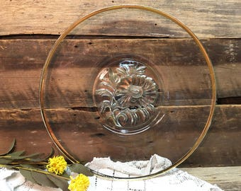 Vintage Cake Plate/Platter/Gold Rim/Sunflower Center/Serving Tray