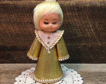 Vintage Tree Topper Angel/Gold Dress/Plastic/Christmas/Table Decor