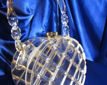RESERVED For Layaway VINTAGE MYLES Originals Clear Lucite Purse Beveled Raised Carved & Rhinestones