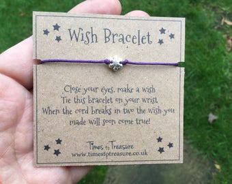 Wish bracelet, wish bracelets, dainty bracelet, snowflake bracelet, gift for her, teenage girl gift, stocking filler, girls gift,