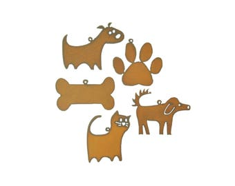 Pet Themed Rusty Metal Ornament Assortment