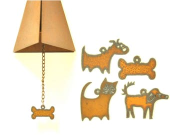 Rusty Wind Chime With Pet Lovers Charm Assortment