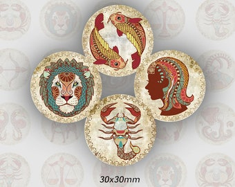 (TR0009 - 30mm) Astrological signs cabochons, round 30 mm images
