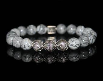 Gray Jasper Stone Bracelet, Gray Jasper and Sterling Silver Bracelet, Bead Bracelets Men, Bracelets for Men, Men's Designer Bracelet