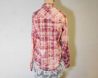 Bleached Plaid Shirt Upcycled Clothes Lace Hi Low Hem Boyfriend Pearl Snap Buttons Mens xsmall Womens Small Medium Splattered Lucky brand
