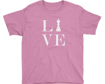 Youth Short Sleeve T-Shirt - Live Love Chess White King Youth T-Shirt