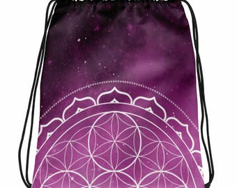 Drawstring bag - Sacred Geometry Purple 1 Drawstring Bag
