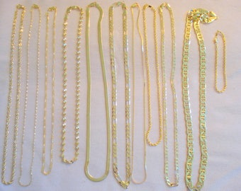 PERFECT Chain Lot Set of 10 Necklaces 1 Bracelet Gold Plated Chains by my DAD