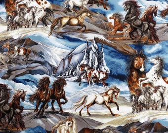 Wild Horses Wildlife Robert Kaufman Fabrics #6399 By the Yard