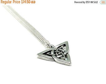 SALE Celtic Knot Necklace Sterling Silver Plated Chain, Triquetra Necklace