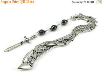 SALE Dragon Bookmark Hematite Gemstones Sword Charm Beaded Book Mark Celtic Style