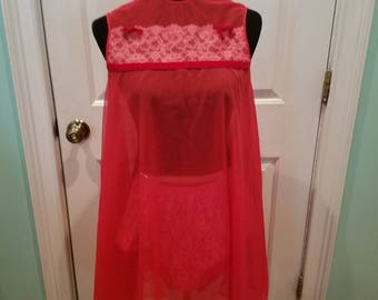 Vintage 60's Red Chiffon and Lace Baby Doll Nightie